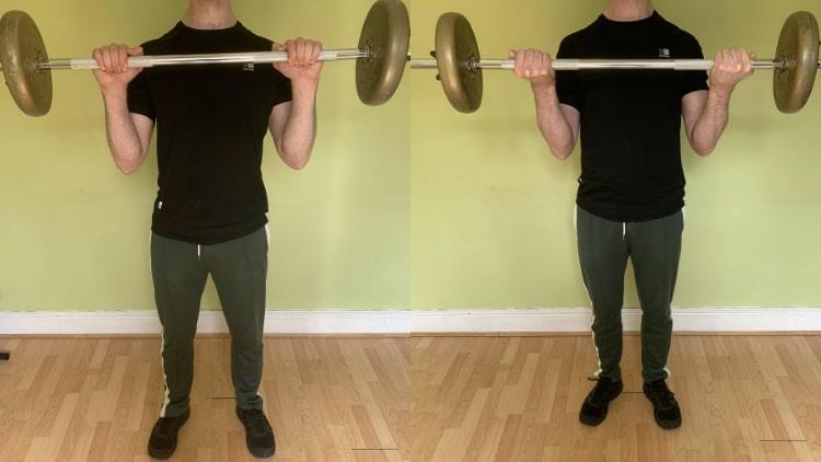 A man doing a super set biceps workout