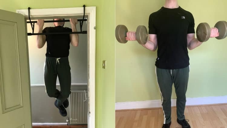 A man performing a super set for his biceps