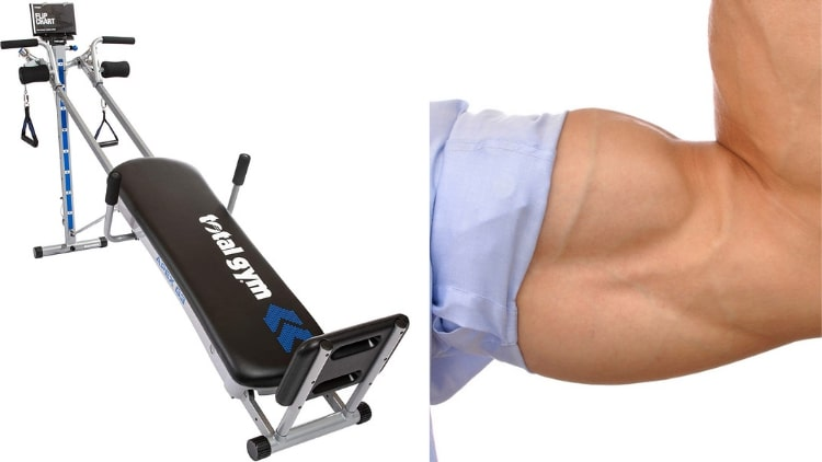 A Total Gym pictured next to a flexed bicep