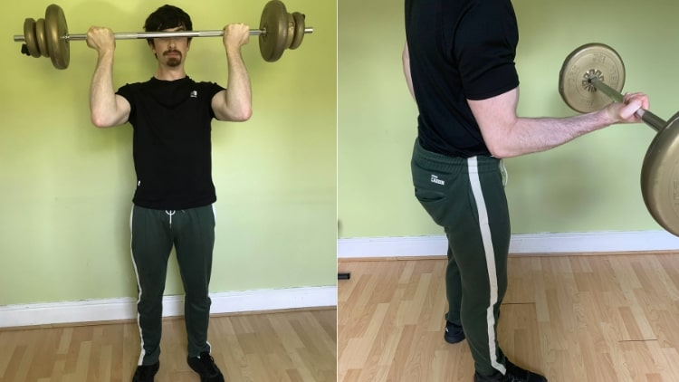 A man doing some unique bicep workouts