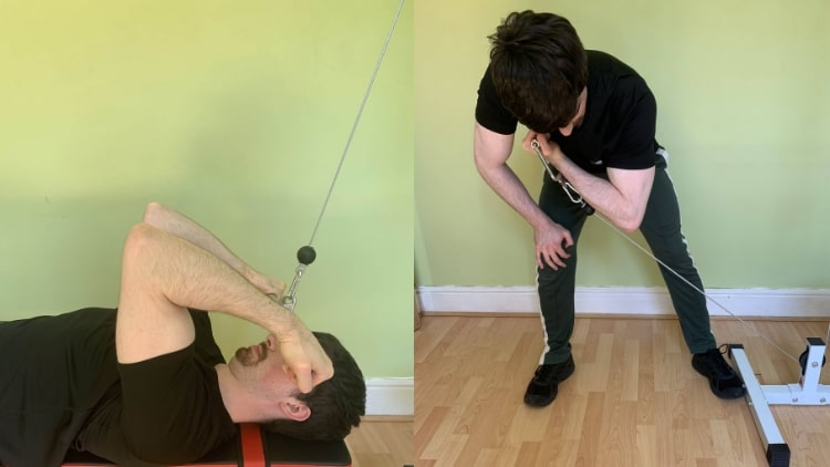 A man demonstrating some unique biceps exercises during his workout