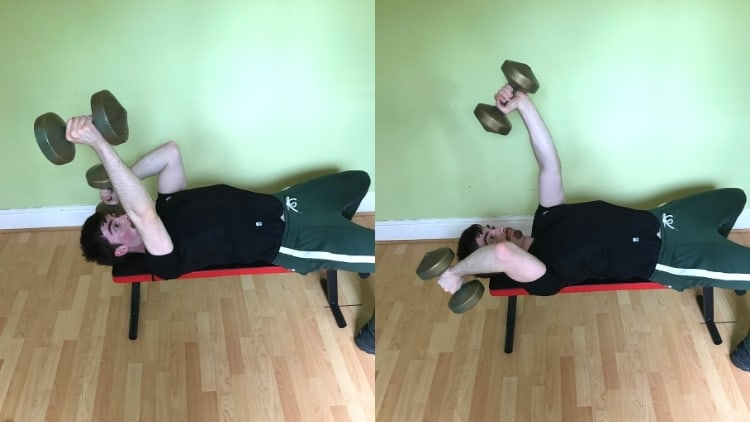 A man performing alternating dumbbell skull crushers for his triceps