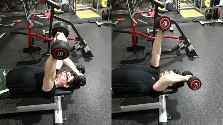 A man performing an alternating pronated triceps extension at the gym