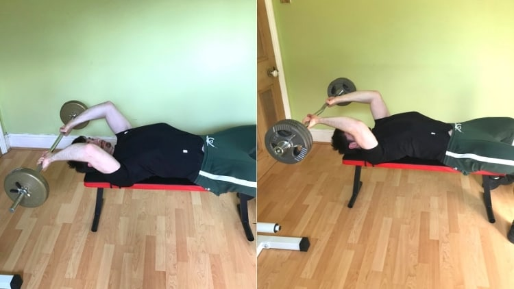 A man doing a barbell skull crushers vs ez bar comparison to show the differences