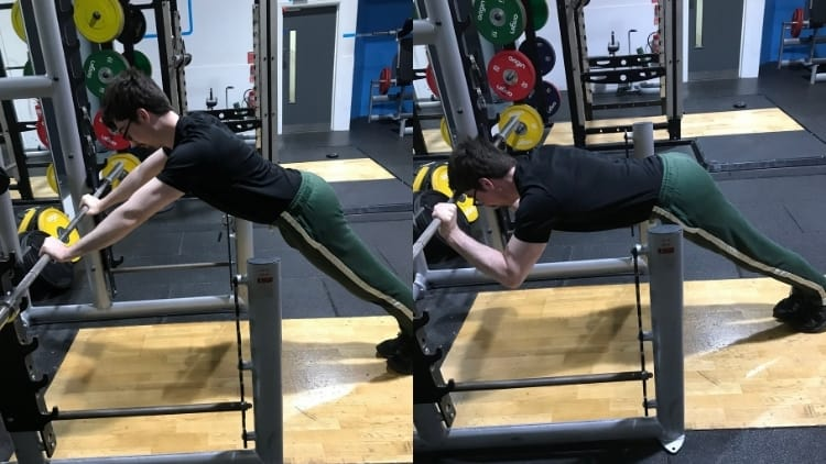 A man doing some bodyweight skull crushers for his triceps