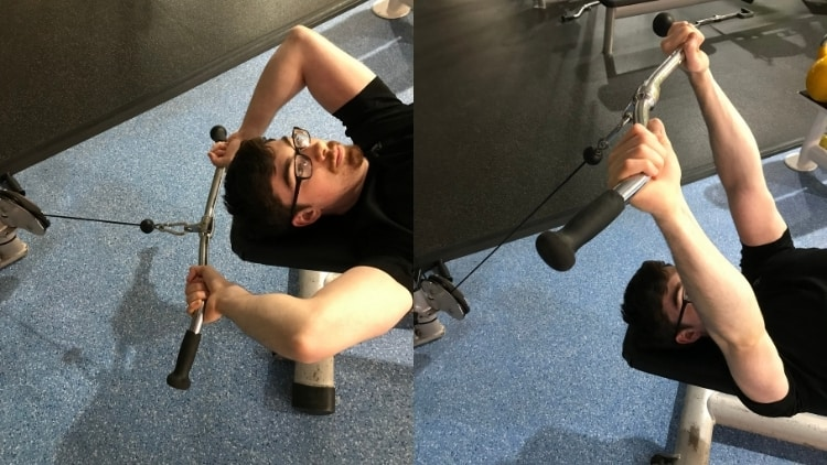 A man performing cable machine skull crushers for his triceps