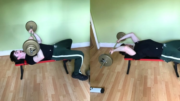 A man doing a close grip bench press vs skull crushers comparison to demonstrate the differences