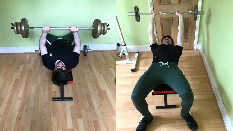 A man doing a close grip bench press vs skullcrushers comparison to show the differences