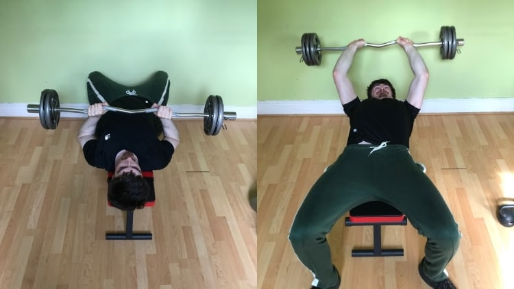 A man comparing the close grip press with skullcrushers