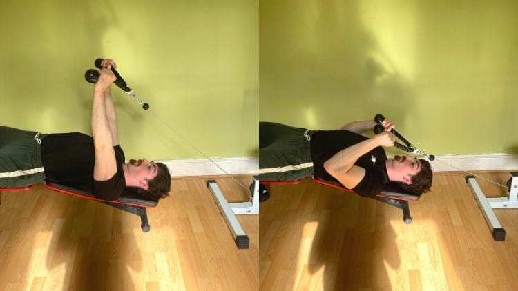 A man performing a decline cable rope extension for his triceps