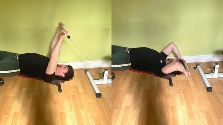 A man doing a decline cable tricep extension with a bar
