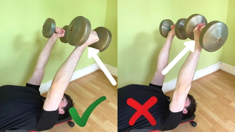 A man showing the possible grips for decline dumbbell triceps extensions