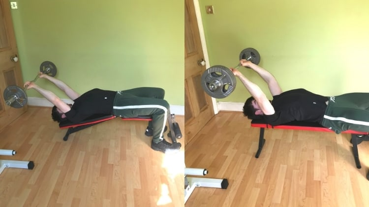 A man doing a decline skull crushers vs flat skull crushers comparison to show the differences
