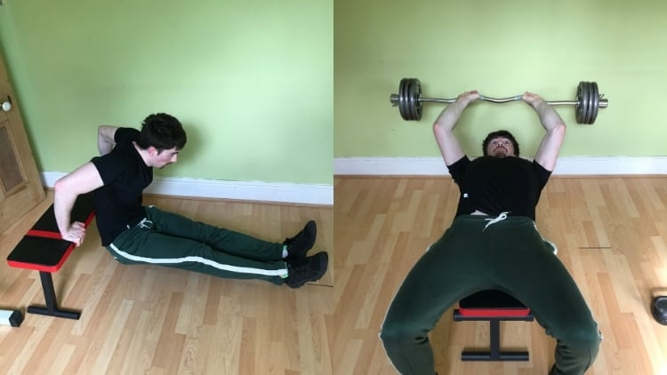 A man doing a dips vs skullcrushers comparison to show the differences between the exercises