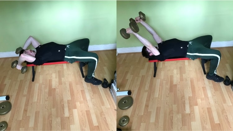 A man showing how to do dumbbell skull crushers with the proper form for the triceps