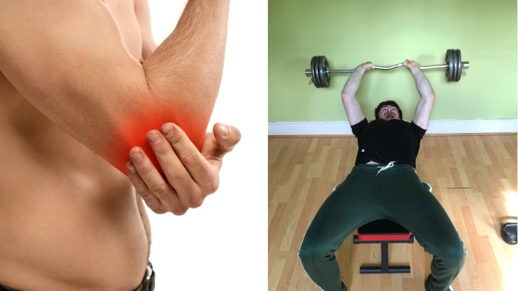 A man with elbow pain from skullcrsuhers