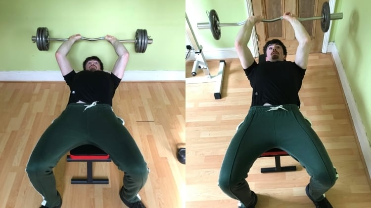 A man showing that you can stop skull crushers hurting your elbows by lifting lighter weight