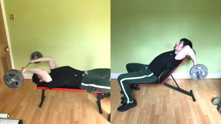 A man performing an incline tricep extension vs flat tricep extension comparison