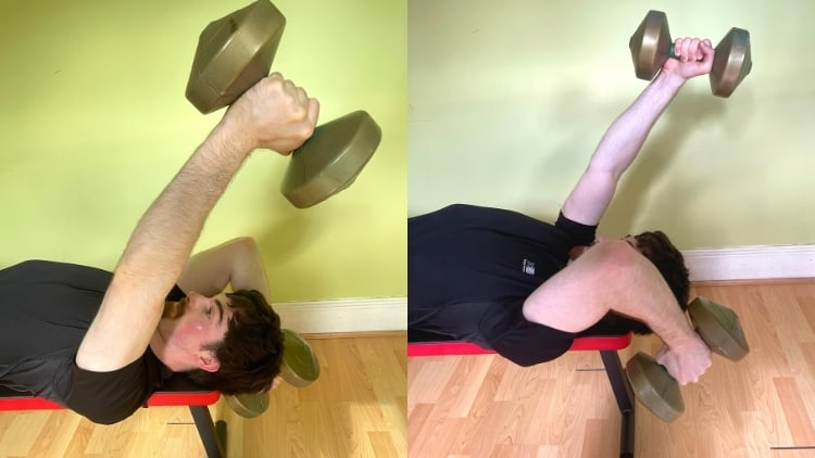 A man performing a lying alternating dumbbell triceps extension
