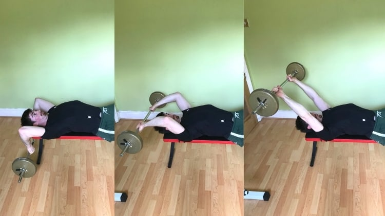 A man performing lying barbell skull crushers for his triceps