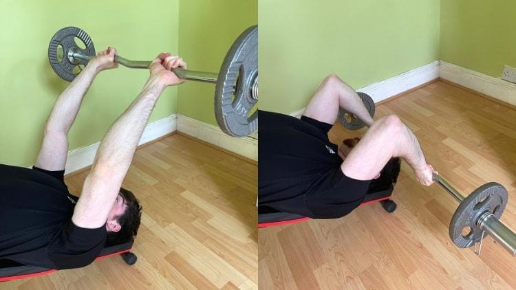 A man doing a lying EZ bar triceps extension
