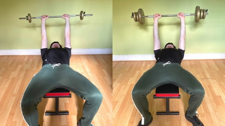 A man doing a lying tricep extension with a barbell during his strength training workout