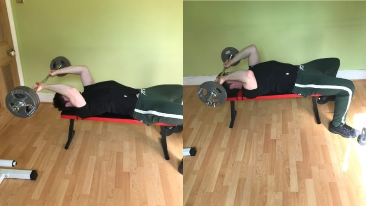 A man doing a lying tricep extension vs skullcrushers comparison to show the differences