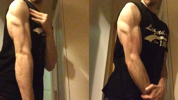A man flexing his muscular triceps