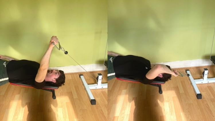 A man performing a one arm decline cable tricep extension
