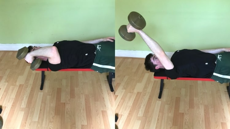 A man doing one arm skull crushers with a single dumbbell