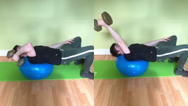 A man doing a one arm stability ball tricep extension