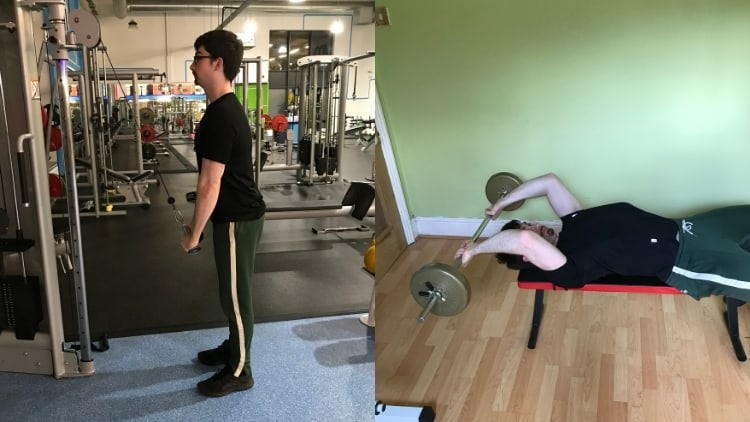 A man performing a push down vs skull crusher comparison to show the differences