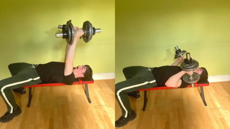 A man performing rolling tricep extensions during his workout