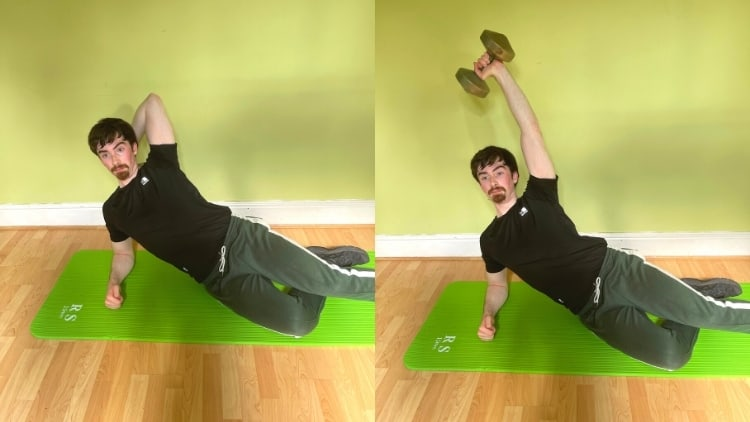 A man doing a side leaning tricep extension