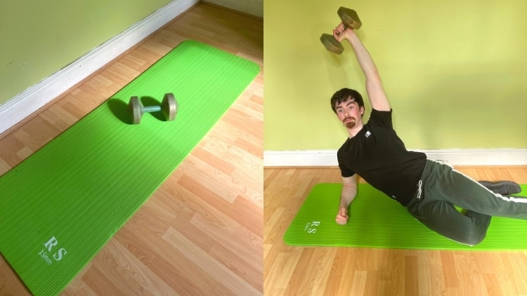 A man doing side leaning tricep extensions