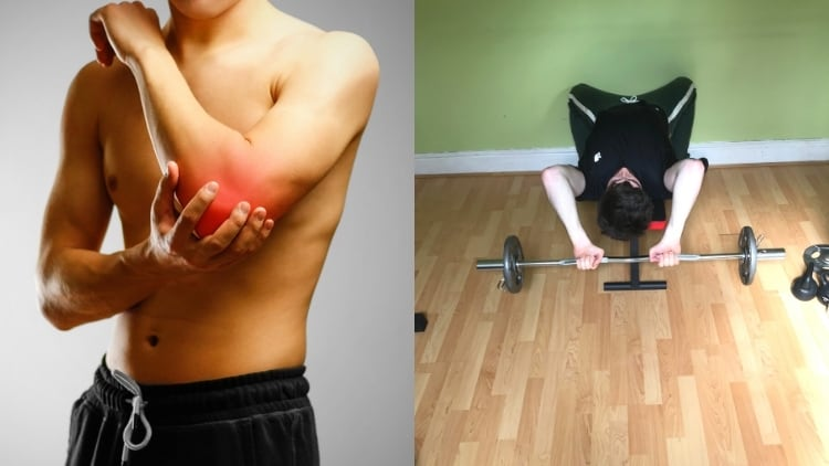 A man showing how you can get skull crusher elbow pain