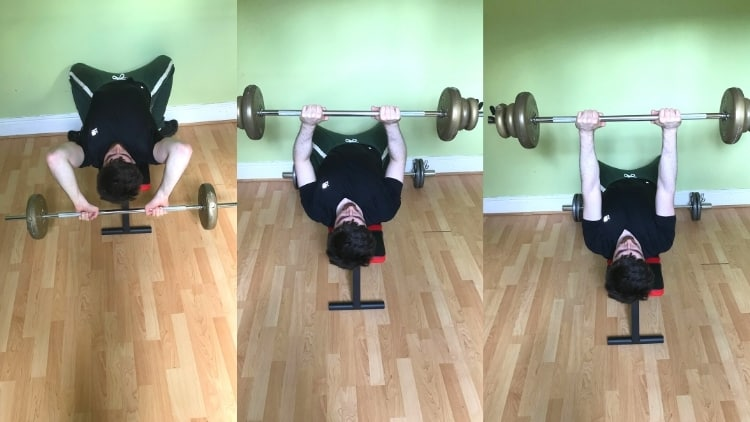 A man doing a skull crusher superset with a close grip bench press for his triceps