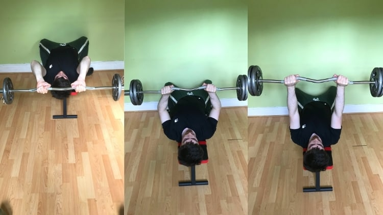 A man doing a skull crusher to close grip bench press