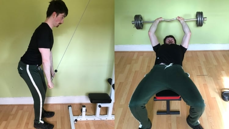 A man demonstrating the difference between a skull crusher and tricep pushdown