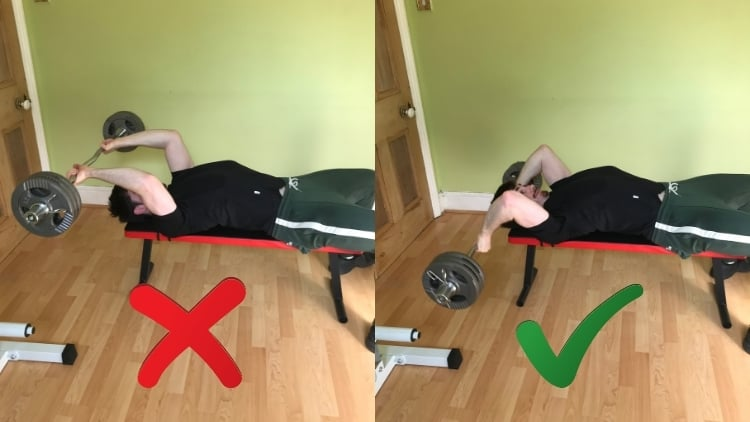 A man doing a skull crusher workout for his triceps