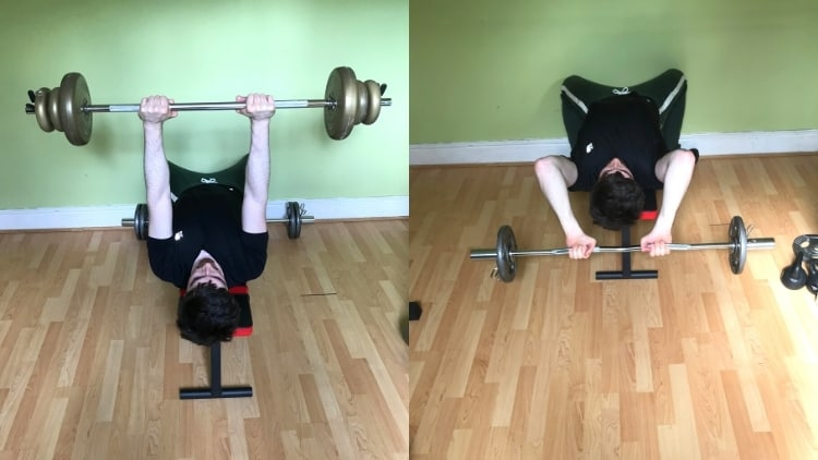 A man doing skull crushers or close grip bench press