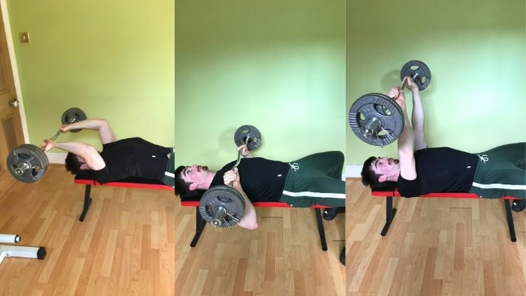 A man showing how to do a skull crushers to close grip bench press superset