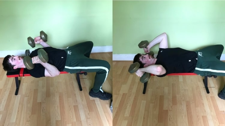 A man demonstrating the difference between skull crushers and close grip bench press