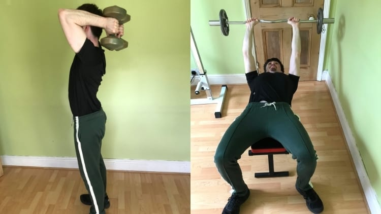 A man demonstrating the differences between skull crushers and tricep extensions