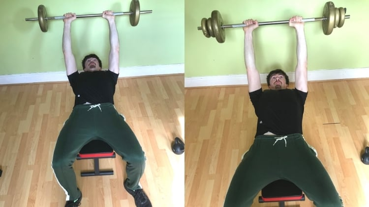 A man doing skull crushers with a barbell