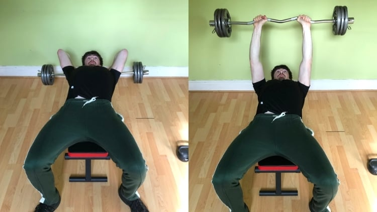 A man performing a skull crushers workout for his triceps