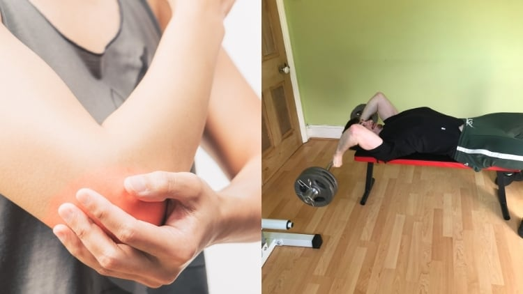 Image showing how you can get elbow pain from skullcrushers
