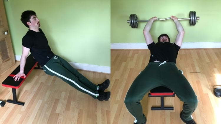 A man doing a skullcrushers vs dips comparison to demonstrate the differences
