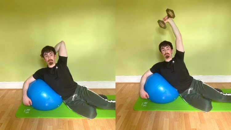 A man performing a stability ball side lying tricep extension