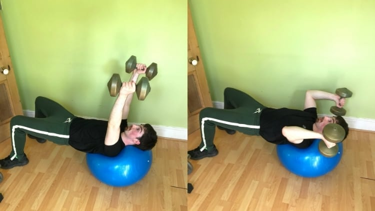 A man doing a stability ball triceps extension
